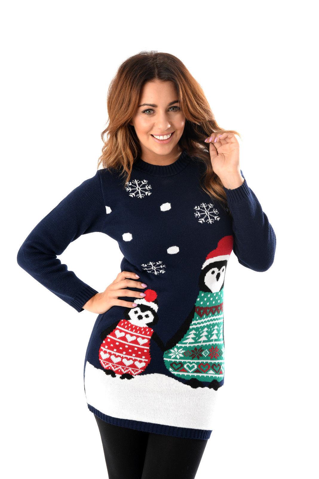 Kersttrui Lang Dames.Tuniek Met Pinguin Coole Sweater Foute Kersttruien Kopen