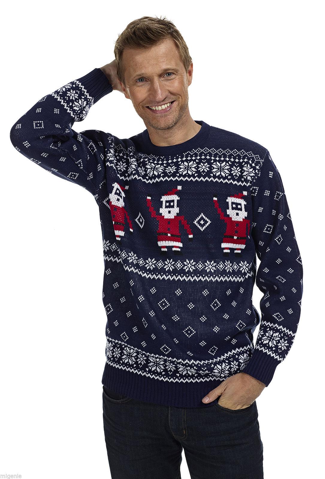 Heren Kersttrui Kopen.Kersttrui Navy Blauw Met Kerstmannen