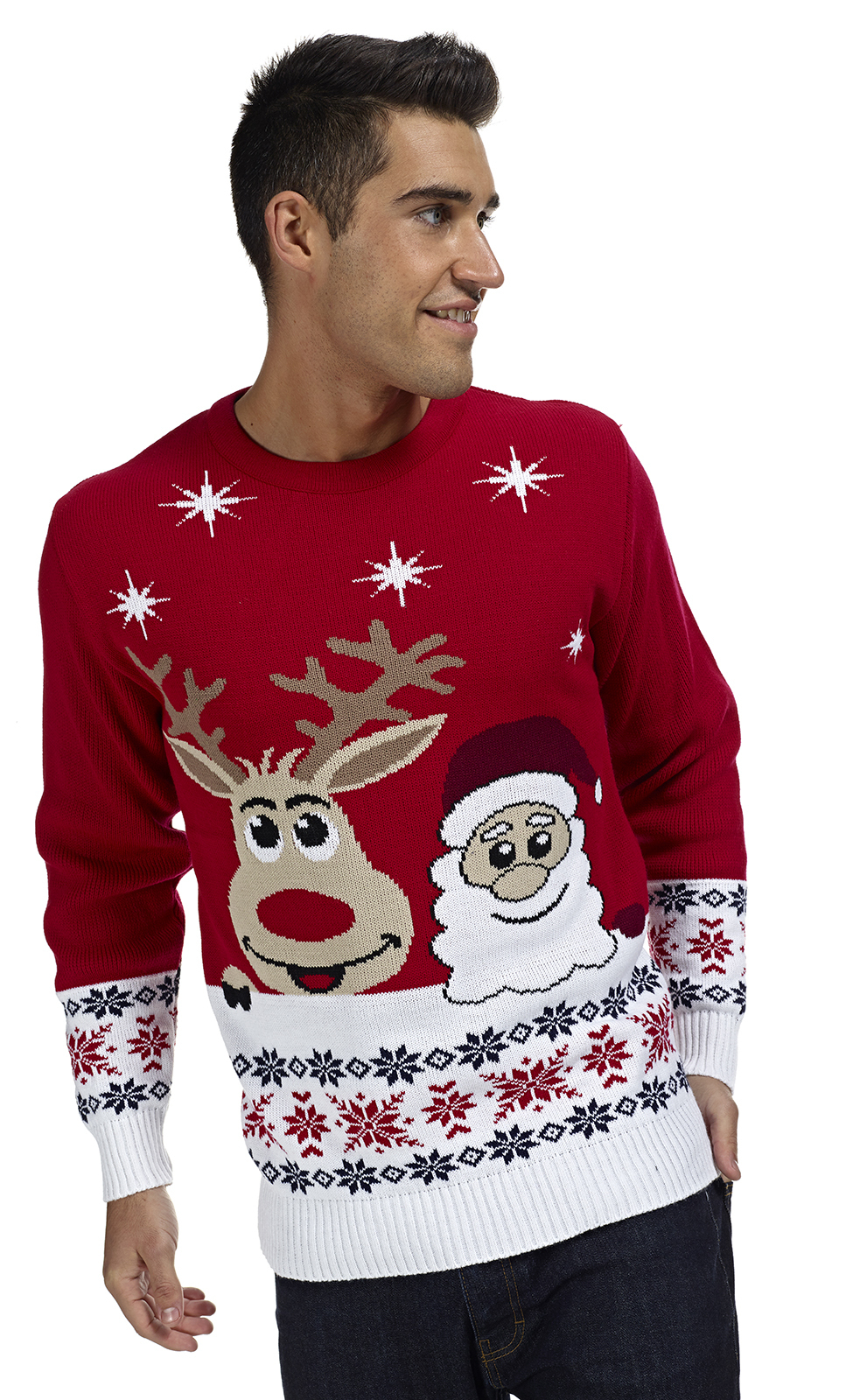 Kersttrui Man Xxl.Kersttrui Met Rudolph Het Rendier En De Kerstman Kersttrui Com
