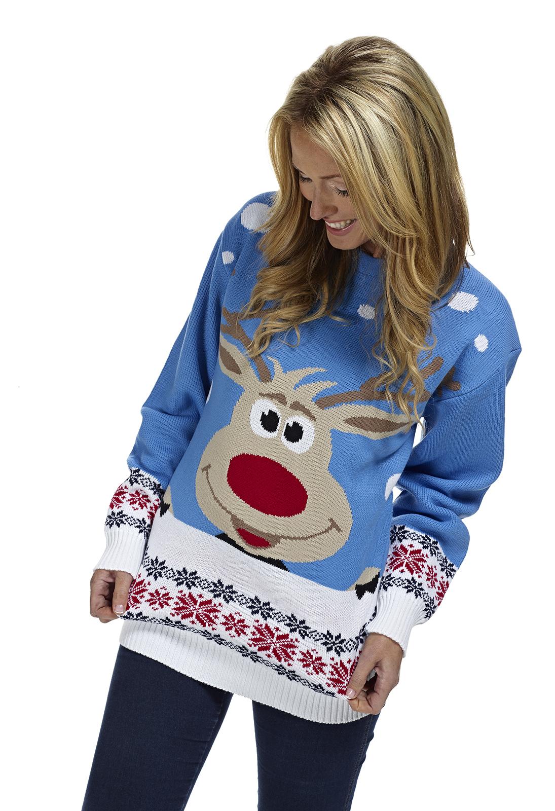 Foute Kersttrui Xl.Rudolph Blauw Foute Kersttrui Kopen Grootste Aanbod Kersttruien