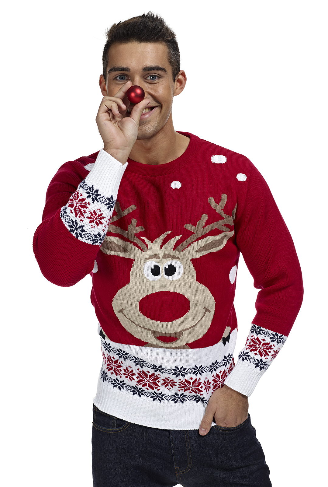 Lelijke Kersttrui Kopen.Kersttrui Met Rendier Rudolph In Het Rood Foute Kersttrui Kopen